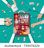 workflow of physicians. first... | Shutterstock .eps vector #735476224