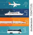 cool set of vector flat design... | Shutterstock .eps vector #735477151