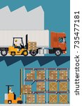 large storage and logistics... | Shutterstock .eps vector #735477181