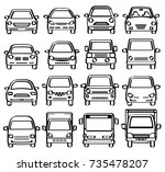 front view of cars   line...   Shutterstock .eps vector #735478207