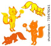 four silhouettes of foxes ... | Shutterstock .eps vector #735478261