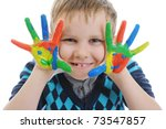 smiling boy with the palms... | Shutterstock . vector #73547857