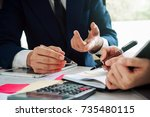 asian business adviser meeting...   Shutterstock . vector #735480115