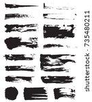set of raster black pen ink... | Shutterstock . vector #735480211