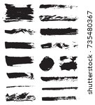 set of raster black pen ink... | Shutterstock . vector #735480367