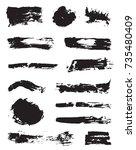 set of raster black pen ink... | Shutterstock . vector #735480409