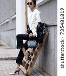fashion photo  street style... | Shutterstock . vector #735481819
