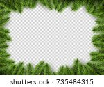 vector christmas frame with... | Shutterstock .eps vector #735484315