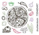 hand drawn doodle food... | Shutterstock .eps vector #735485497