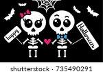 cute kawaii skeleton love... | Shutterstock .eps vector #735490291