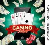 online casino poster vector.... | Shutterstock .eps vector #735493249