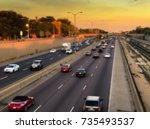 blurred image of traffic jam in ... | Shutterstock . vector #735493537