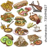 food menu.international cuisine ... | Shutterstock . vector #735494827