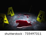 evidence markers on the floor... | Shutterstock . vector #735497311