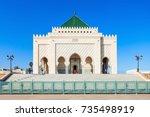 the mausoleum of mohammed v is...   Shutterstock . vector #735498919