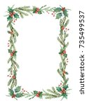 watercolor christmas frame with ... | Shutterstock . vector #735499537