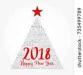happy new year 2018  christmas... | Shutterstock .eps vector #735499789