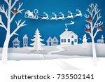 paper santa claus sleigh... | Shutterstock .eps vector #735502141