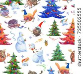 christmas pattern with animals... | Shutterstock . vector #735502555