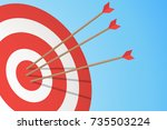 arrows hitting a target. one... | Shutterstock .eps vector #735503224