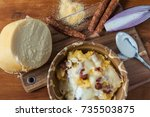 polenta with traditional... | Shutterstock . vector #735503875