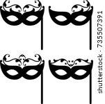carnival mask icon vector... | Shutterstock .eps vector #735507391