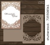 die laser cut wedding card... | Shutterstock .eps vector #735508561
