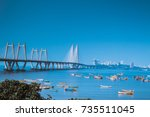 the bandra worli sea link or... | Shutterstock . vector #735511045