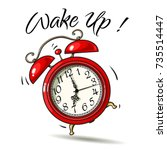 cartoon red alarm clock ringing.... | Shutterstock .eps vector #735514447