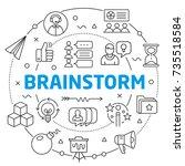 brainstorm linear illustration | Shutterstock .eps vector #735518584