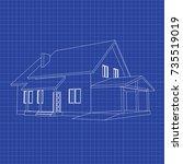 3d suburban house model.... | Shutterstock .eps vector #735519019