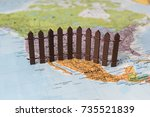 concept of us mexican border... | Shutterstock . vector #735521839