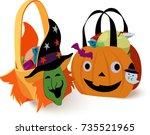 halloween bag with candies | Shutterstock .eps vector #735521965