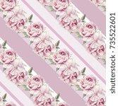 seamless watercolor pink... | Shutterstock . vector #735522601
