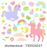 set of unicorns  rainbows ... | Shutterstock . vector #735524317