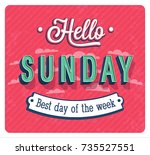hello sunday typographic design.... | Shutterstock .eps vector #735527551