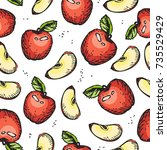 apple seamless pattern. doodle... | Shutterstock .eps vector #735529429