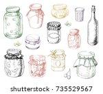 set jars of jam in vector | Shutterstock .eps vector #735529567