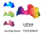 set of polygonal map blank on...   Shutterstock .eps vector #735530845
