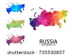 set of polygonal map blank on... | Shutterstock .eps vector #735530857