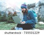 young beautiful traveler girl...   Shutterstock . vector #735531229