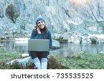 young beautiful traveler girl...   Shutterstock . vector #735535525