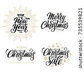 merry christmas. happy new year ... | Shutterstock .eps vector #735539821