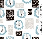 childish seamless pattern with... | Shutterstock .eps vector #735541225