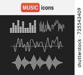wave sound music. sound waves... | Shutterstock .eps vector #735543409