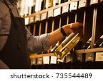 expert in winemaking choose... | Shutterstock . vector #735544489