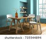 interior modern design room 3d... | Shutterstock . vector #735544894