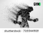silhouette of a bodybuilder.... | Shutterstock .eps vector #735544909