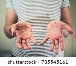 a young man is showing his... | Shutterstock . vector #735545161