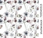 seamless pattern with stylized... | Shutterstock . vector #735545515
